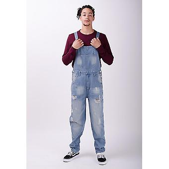 Bertie loose fit dungarees palewash with rips