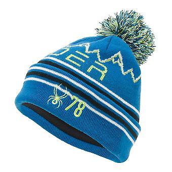 Spyder ICEBOX Kinder Strick Bommel Winter Ski Mütze blau