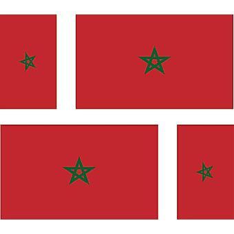 4 X Autocollant Sticker Voiture Moto Valise Pc Portable Drapeau Maroc Marocain