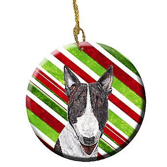Bullterrier Zuckerstange Christmas Ornament Keramik SC9617CO1