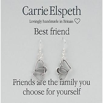 Orecchini pendenti di Carrie Elspeth Silver migliore amico doppio cuore sentimento