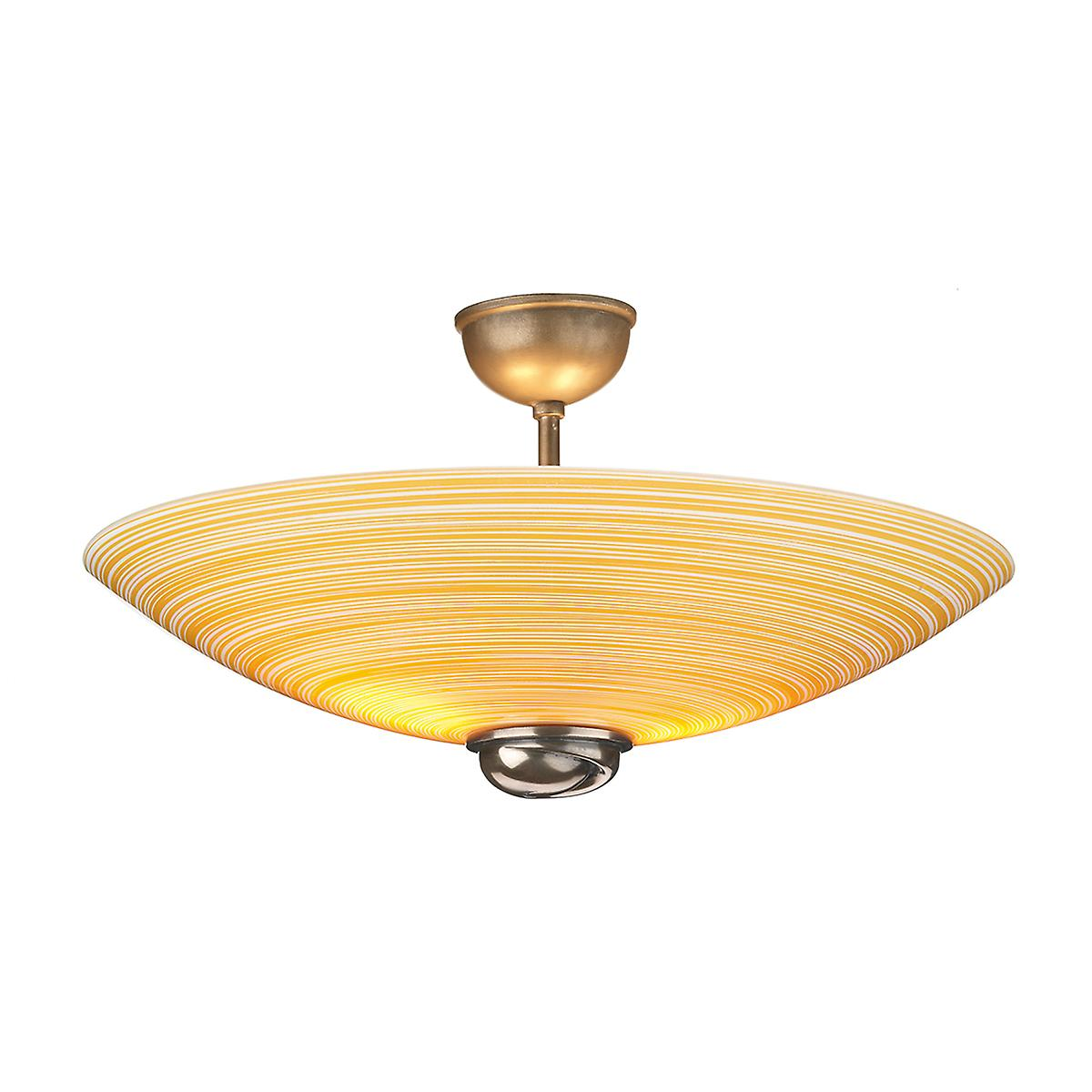 David Hunt SWF5863 Swirl Semi Flush Pendant In Bronze With Amber Glass