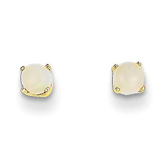 14k Yellow Gold 3mm Round October Simulated Opal Post Earrings