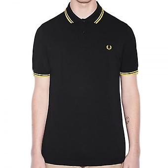 Fred Perry M3600 Twin Tipped Polo schwarz/gelb