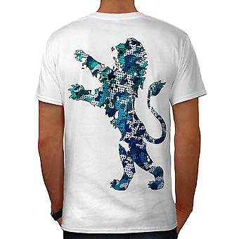 Lion Stylish King Fashion Men White T-shirt Back | Wellcoda