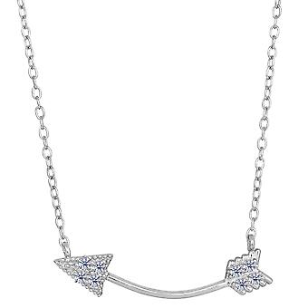 Sterling Silver With CZ Sideways Curved Arrow Necklace, 18