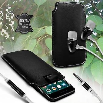 i-Tronixs LG K10 LTE K430 Genuine Leather High Quality Pull Tab Flip Phone Case Cover With Earphone Black