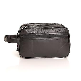 Apucarana Russell Mens pelle lavare Travel Bag, nero