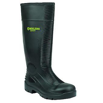 Ambers sikkerhet Mens Black Slip på festing PVC Sole vanntett gummistøvler støvler 48