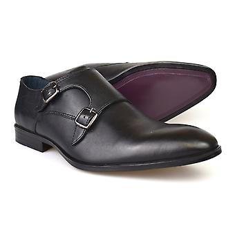 Silver Street London Bourne Black Leather Formal Monk Shoes