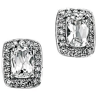 9ct bianco oro bianco topazio e diamante orecchino