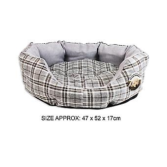 Dog Bed Round Pet Cushion Comfort Soft Luxury High Quality Checked Design Fabric