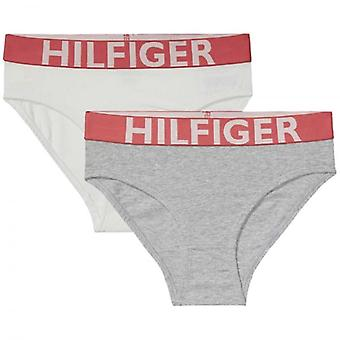 Tommy Hilfiger Girls 2 Pack Bold Bikini Brief, White / Grey Heather, Medium