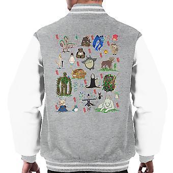 Bakemono Studio Ghibli Characters Men's Varsity Jacket