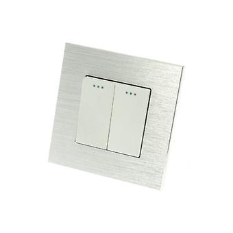I LumoS Luxury Silver Brushed Aluminium Frame 2 Gang 1 Way Rocker Wall Light Switches