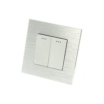 Jag LumoS Luxury Silver borstad Aluminium ram 2 gänget 2 sätt Rocker väggströmbrytare
