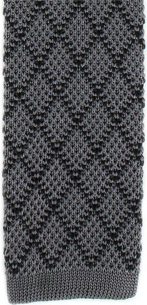 Michelsons of London Diamond Silk Knitted Skinny Tie - Charcoal/Black