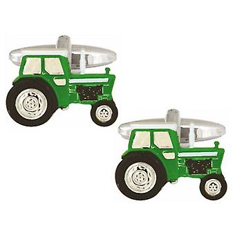 Zennor Tractor Cufflinks - Green