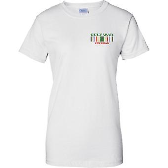 Golfo de veterano de guerra - medalla de Pop Art - diseño de pecho de las señoras camiseta
