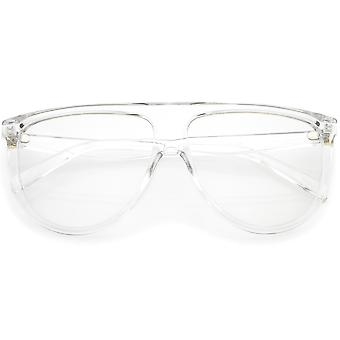 Oversize Bold Flat Top Aviator Eyeglasses With Clear Lens 60mm