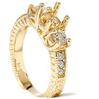 Vintage 3/4ctThree pietra diamante fidanzamento impostazione 14k oro giallo