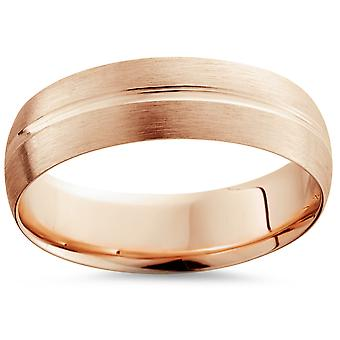 6mm Low Dome 14K Rose Gold Single Groove Brush Finish Wedding Band