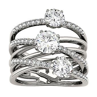 Forever Brilliant Round 6.0mm Moissanite Band Style 3 Stone Ring, 2.28cttw DEW
