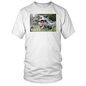 Hjem er der du park det VW T5 bobil Kids T skjorte