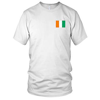Cote Divoire Country National Flag - Embroidered Logo - 100% Cotton T-Shirt Mens T Shirt