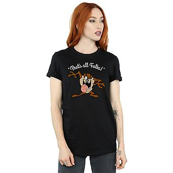 Looney Tunes Women's Taz That's All Folks Boyfriend Fit T-Shirt