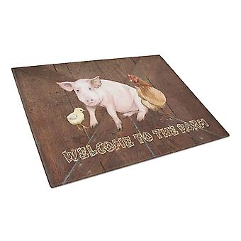 Welcome to the Farm with the pig and chicken Glass Cutting Board Large Size