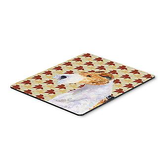 Fox Terrier Fall Leaves Portrait Mouse Pad, Hot Pad or Trivet