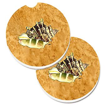 Carolines Treasures  8658CARC Shell Set of 2 Cup Holder Car Coasters
