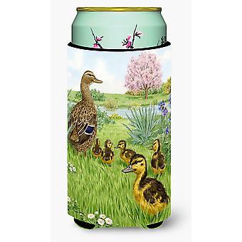 Vrouwelijke Mallard Duck & eendjes hoog Boy drank isolator Hugger
