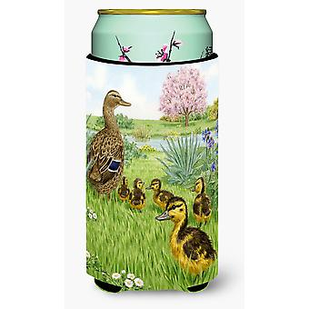 Female Mallard Duck & Ducklings Tall Boy Beverage Insulator Hugger