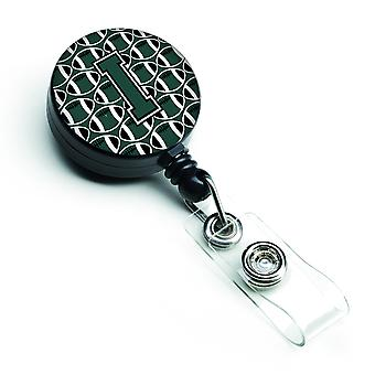 Letter I Football Green and White Retractable Badge Reel