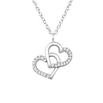 Double Heart - 925 Sterling Zilver Jewelled kettingen - W32085X