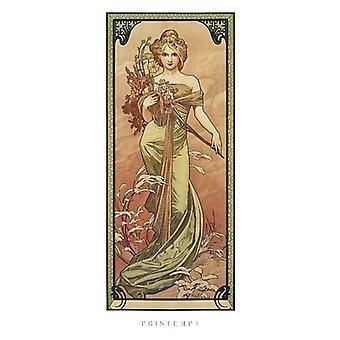 Stampa Poster Printemps 1900 di Alphonse Mucha (9 x 20)