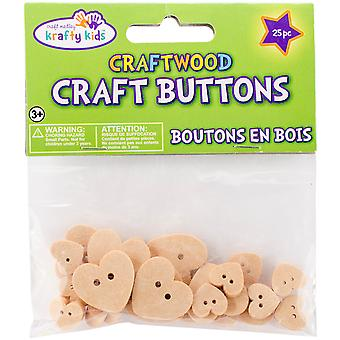 Craft Shaped Natural Buttons 25/Pkg-Hearts CW342-C