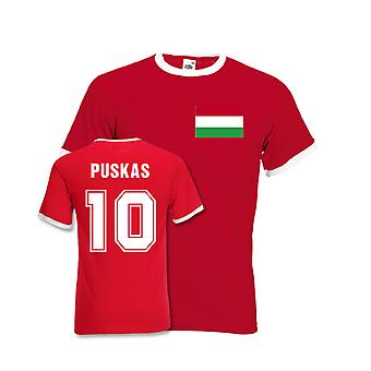 Ferenc Puskas Hungary Ringer Tee (red)