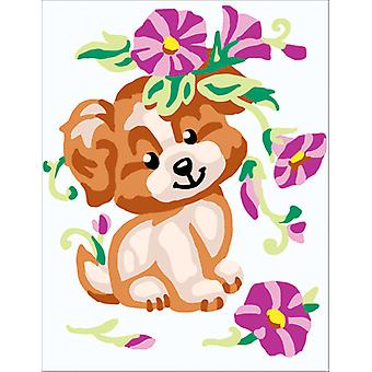 Collection D'Art Stamped Needlepoint Kit 14X18cm-Puppy With Flowers CD3328K