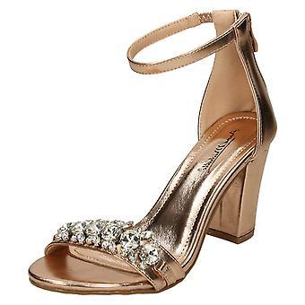 Ladies Anne Michelle Jewel Trim Sandals - Gold Metallic - UK Size 8 - EU Size 41 - US Size 10