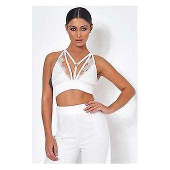 The Fashion Bible Tallulah White Lace Harness Bralet