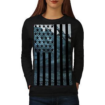 USA Flag t-shirt manica BlackLong donna | Wellcoda