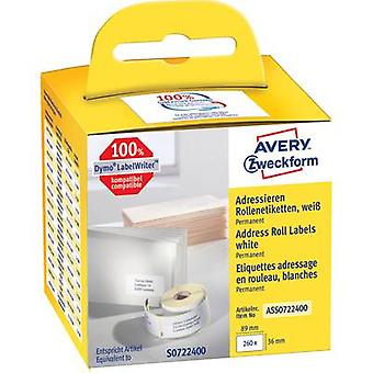 Avery-Zweckform Labels (roll) 89 x 36 mm Paper White