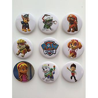 9 x Pin Badge | Medium Size Badges | PAW PATROL | Ideal Party Bag Badges