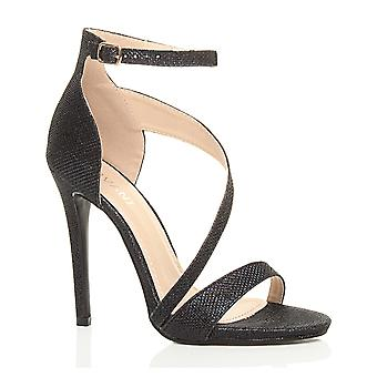 Ajvani womens high heel ankle asymmetric cross strap elegant sandals
