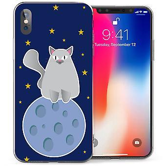 iPhone X Big Cat на Луне гель ТПУ - синий