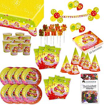 Happy birthday 2 Birthd party set XL 72-teilig for 6 guests decoration party package