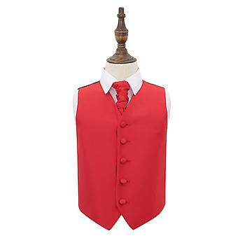 Red Solid Check Wedding Waistcoat & Cravat Set for Boys
